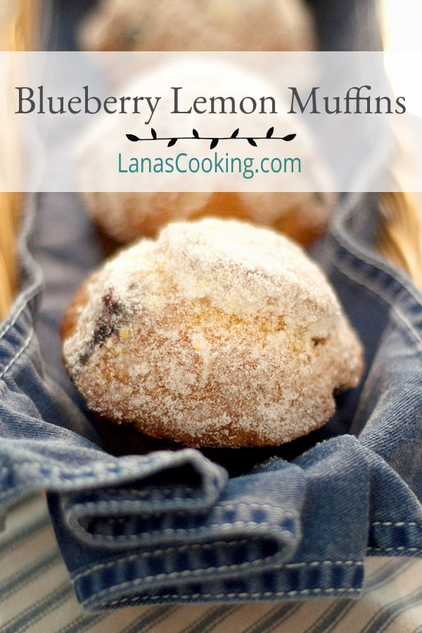 Blueberry Lemon Muffins - these lightly textured, not too sweet muffins are perfect with your morning coffee or enjoy one for an afternoon snack. From @NevrEnoughThyme https://www.lanascooking.com/blueberry-lemon-muffins/
