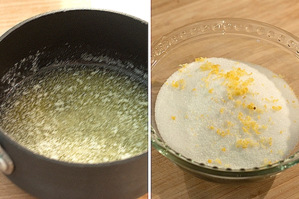 Showing melted butter and lemon zest-sugar topping