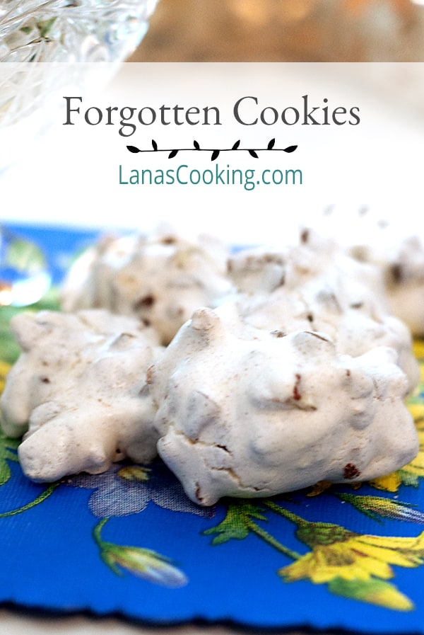 This vintage recipe for Forgotten Cookies is from an old cookbook in my collection. The cookies are bite-sized meringues full of chocolate chips and pecans. From @NevrEnoughThyme https://www.lanascooking.com/forgotten-cookies/