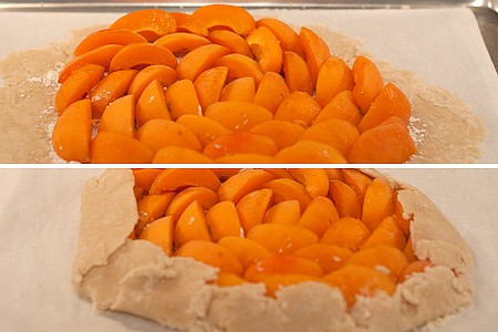 Arrange apricot slices on top of dough