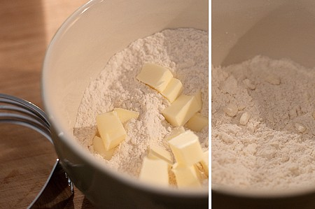 Cut the butter into the flour for Apricot Thyme Galette