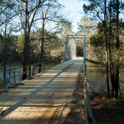 The one lane bridge over the Ichauway-Nochauway Creek on Ichauway Plantation in southwest Georgia. From @NevrEnoughThyme https://www.lanascooking.com/ichauway-plantation/