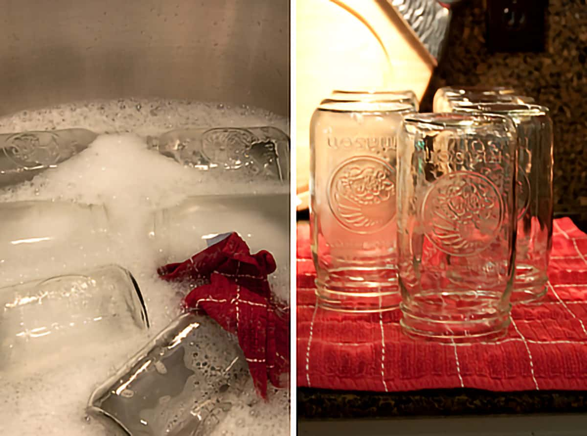Sink filled with soap water and jars; Clean jars draining on kitchen towel