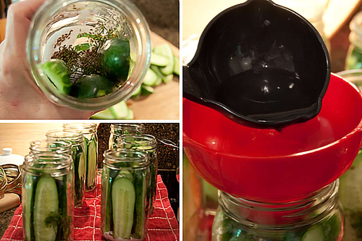 Photo collage showing process of packing jars with cucumbers and filling with hot pickling brine