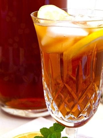 Sweet Tea - as essential to southern cuisine as fried chicken and collard greens. Not limited to warmer weather here, it appears on our tables every day. From @NevrEnoughThyme https://www.lanascooking.com/southern-sweet-tea/