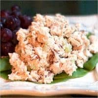 Toasted Pecan Chicken Salad A traditional chicken salad with the addition of toasted pecans for extra depth of flavor. From @NevrEnoughThyme https://www.lanascooking.com/toasted-pecan-chicken-salad/
