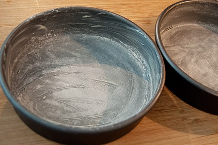 Two greased and floured cake pans.