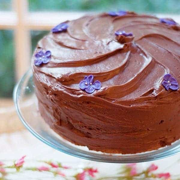 Chocolate-Chocolate Cake - light chocolately cake layers with a luscious, rich cocoa frosting. From @NevrEnoughThyme https://www.lanascooking.com/chocolate-chocolate-cake
