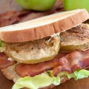 Georgia BLT with Fried Green Tomatoes - A classic bacon, lettuce, and tomato sandwich with a twist. My version blows the regular BLT out of the water! https://www.lanascooking.com/georgia-blt/