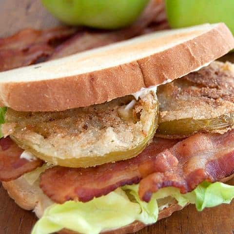 Georgia BLT with Fried Green Tomatoes - A classic bacon, lettuce, and tomato sandwich with a twist. My version blows the regular BLT out of the water! From @NevrEnoughThyme https://www.lanascooking.com/georgia-blt/