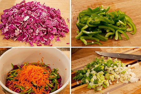 Prepping vegetables for Red Cabbage Slaw