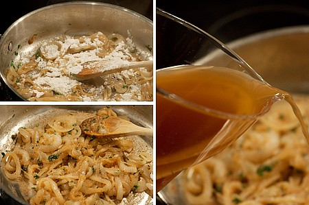 Photo collage showing the making of onion gravy