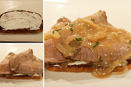 Assembling Hot Roast Beef Sandwiches with Horseradish Cream