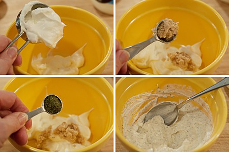 Photo collage showing steps for mixing the horseradish cream