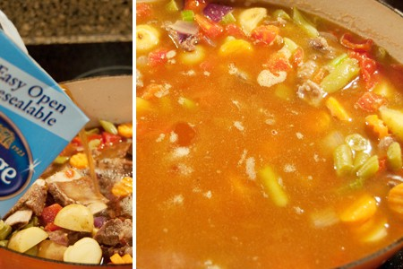 Add beef broth for Homemade Vegetable Beef Soup