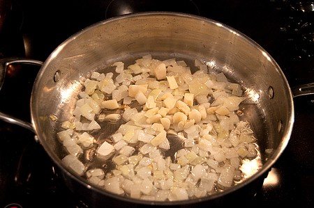 Onions and garlic for spicy white bean dip