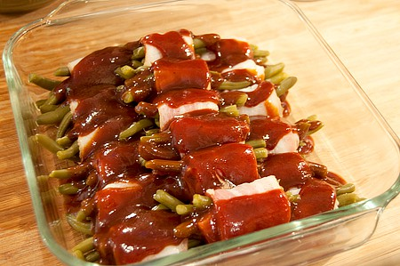 Drizzle sauce over Barbecued Green Bean Bundles