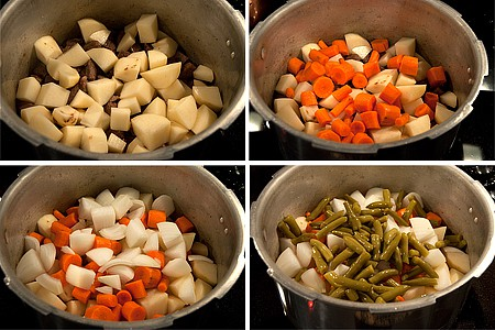 Add prepared veggies to the pressure cooker with the browned stew beef