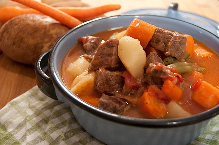 Prepared Beef Stew in the Pressure Cooker