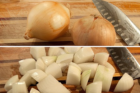 Prepping onions for Pressure Cooker Beef Stew