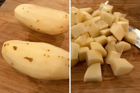Cut the potatoes into bite-sized pieces for Pressure Cooker Beef Stew