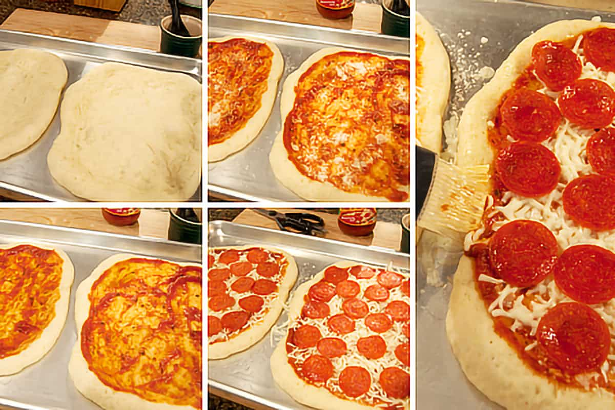 Photo collage showing sauce, cheese, and pepperoni being applied to pizza dough.
