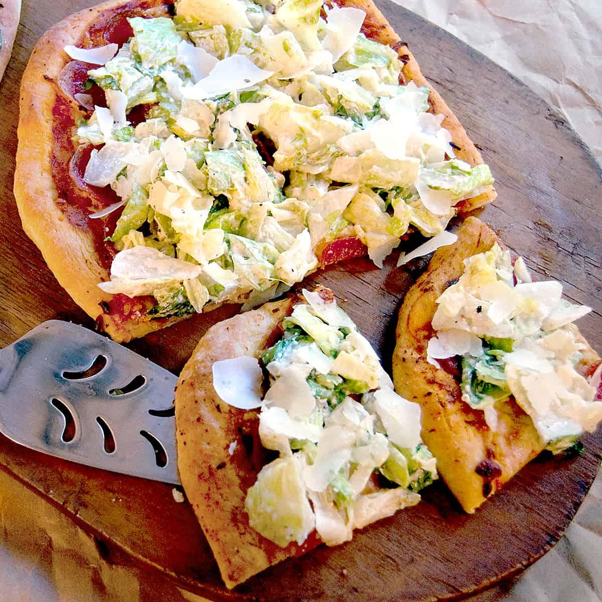 Paleo Chicken Caesar Salad Pizza