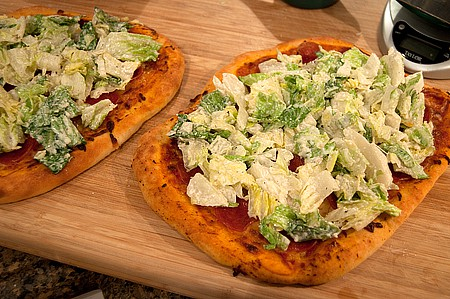 Preparing Caesar Salad Pizza