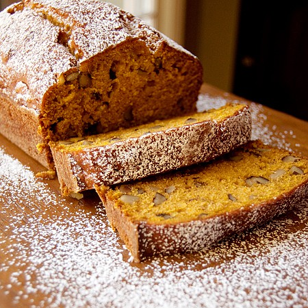 Black Walnut Pumpkin Bread - not too sweet and full of fragrant black walnuts! From @NevrEnoughThyme http://www.lanascooking.com/black-walnut-pumpkin-bread