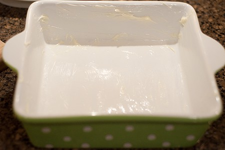 Buttered baking dish.