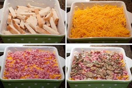 Layering the Ham and Cheese Strata