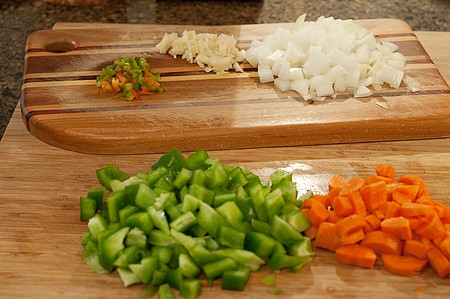 Prepping vegetables for Vegetable Chili