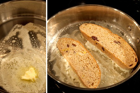 French toast cooking in a skillet.
