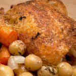 Best Roast Chicken - an easy method for cooking a succulent roast chicken with potatoes, onions, and carrots. From @NevrEnoughThyme https://www.lanascooking.com/best-roast-chicken/