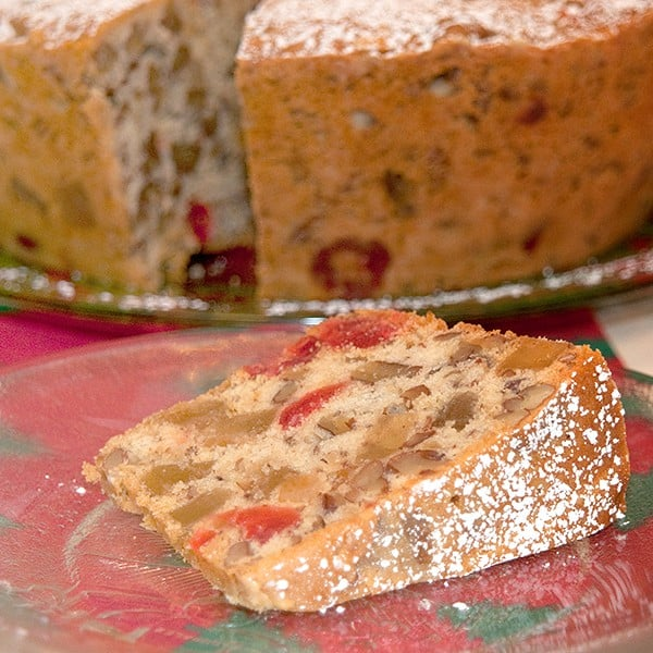 A light, golden, buttery Candied Holiday Fruitcake filled with candied fruits and nuts. From @NevrEnoughThyme http://www.lanascooking.com/candied-holiday-fruitcake