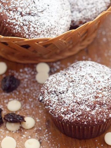 Chocolate Cherry Muffins with white chocolate chips and dried cherries. A quick to make, fun to eat, tempting sweet treat. From @NevrEnoughThyme https://www.lanascooking.com/chocolate-cherry-muffins/