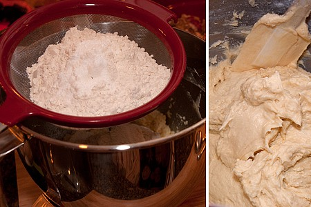 Add the dry ingredients for Candied Holiday Fruitcake