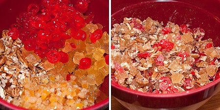 Mix pecans and fruits for Candied Holiday Fruitcake