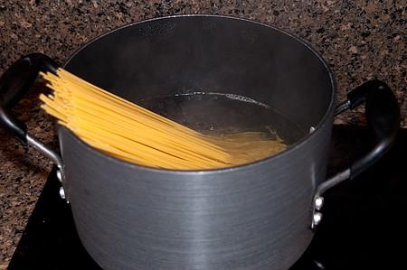 Cook the pasta for Turkey Tetrazzini