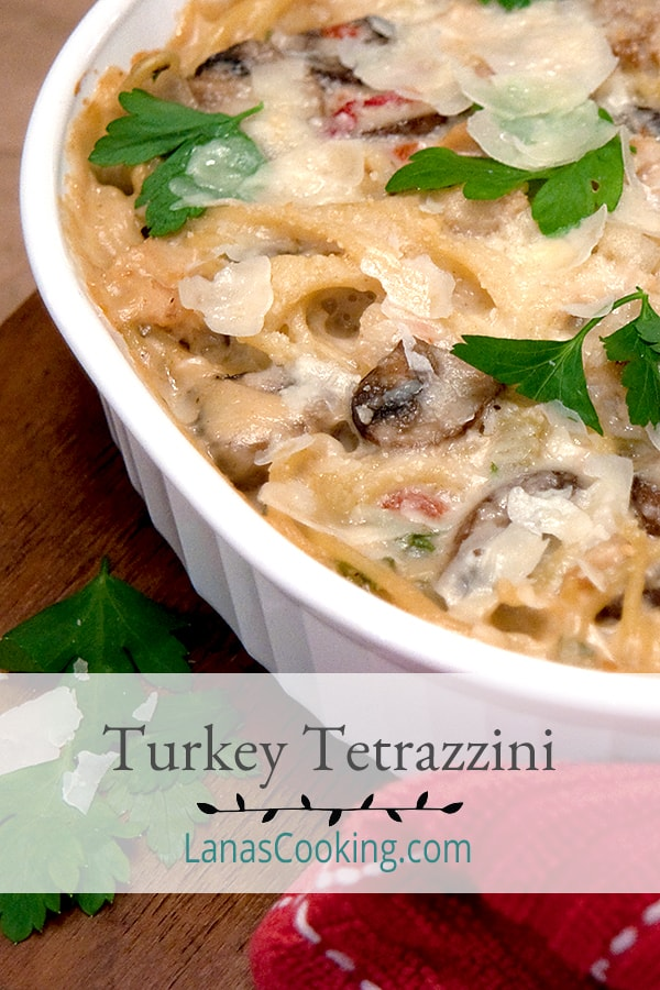 Use up your Thanksgiving leftover turkey in this classic Turkey Tetrazzini casserole. From @NevrEnoughThyme https://www.lanascooking.com/turkey-tetrazzini/