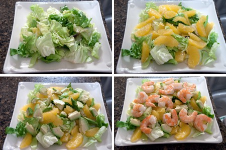 Collage of photos showing how to assemble the salad.