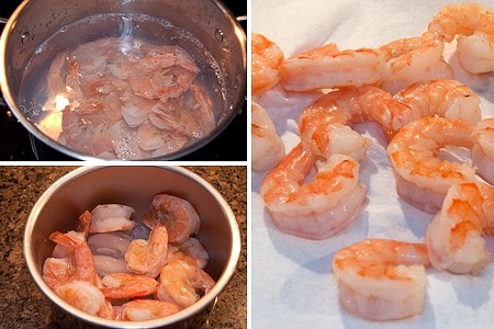 Shrimp boiling in a saucepan (left); cooked, shelled shrimp (right).