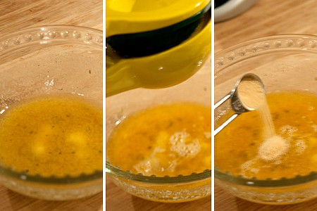 Butter, lemon juice, and garlic