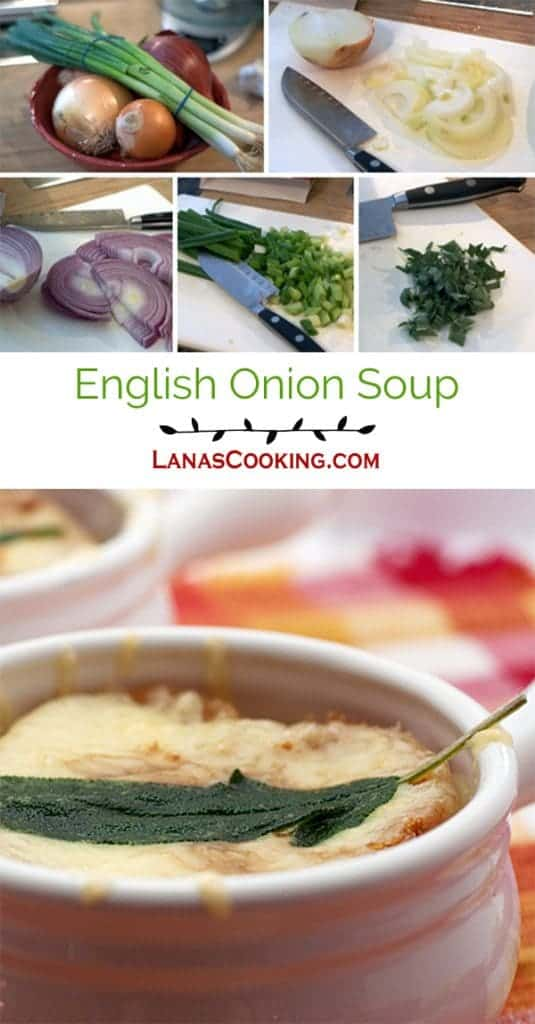 English Onion Soup - a different take on the classic using chicken stock, sage and sharp cheddar. https://www.lanascooking.com/english-onion-soup/