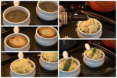 Assemble  the English Onion Soup in individual serving bowls