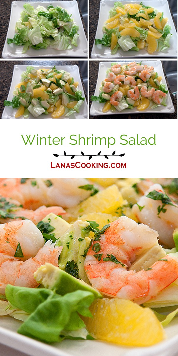 This Winter Shrimp Salad contains shrimp, avocado and orange sections on a bed of butter lettuce topped with a tangy citrus dressing. From @NevrEnoughThyme https://www.lanascooking.com/winter-shrimp-salad