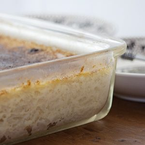 This Baked Rice Pudding with a brulee topping is rich with eggs, sugar, raisins, and milk. https://www.lanascooking.com/baked-rice-pudding/
