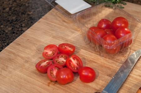 Halved cherry tomatoes.
