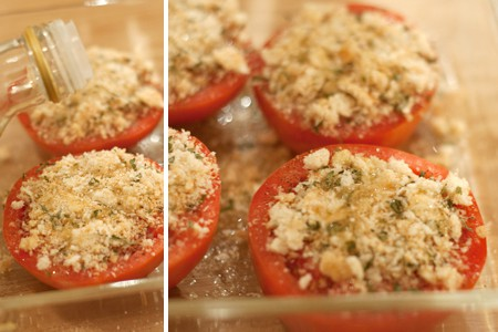 Drizzle the prepared tomatoes with olive oil for Tomatoes Provencal