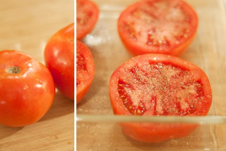 Preparing fresh tomatoes with salt and pepper for Tomatoes Provencal